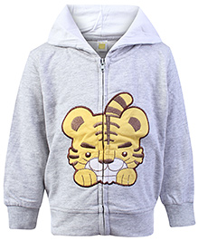 Full Sleeves Hooded Jacket With Lion Patch And Embroidery Grey 9 Months, Soft comfortable full sleeves cotton mix jacket to protect your...