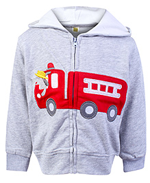 Full Sleeves Hooded Jacket With Fire Brigade Patch Grey 9 Months, Full sleeves cotton mix hooded jacket to protect your kid from...