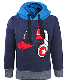 Babyhug Full Sleeves Hooded Sweatshirt - Cap Patch