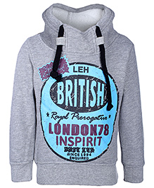 Babyhug Full Sleeves Hooded Sweatshirt - British Print