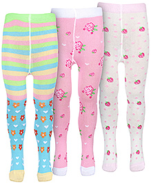 Babyhug Multi Colored Footed Tights - Set Of Three