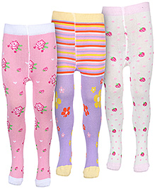 Babyhug Footed Tights - Set Of Three