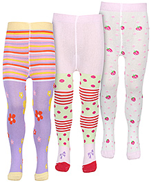 Babyhug Multicolored Printed Footed Tights - Pack Of 3