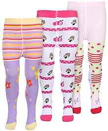 Babyhug Multi Color Footed Tights - Pack Of 3
