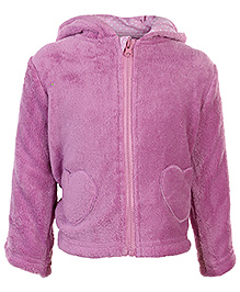 Heart Shape Pockets 0 - 3 Months, Soft comfortable bow applique hooded jacket for your girl.