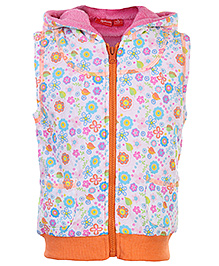 Carters Full Sleeves Plush Hooded Jacket - Floral Print - Size 2