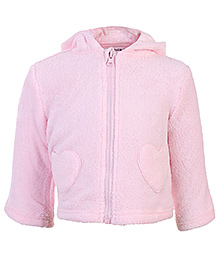 Heart Shape Pockets 3 - 6 Months, Soft comfortable bow applique hooded jacket for your girl.