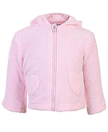 Babyhug Full Sleeves Hooded Plush Jacket - Heart Shape Pockets