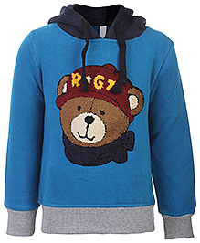 Babyhug Full Sleeves Hooded Sweatshirt - Bear Patch