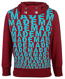 Babyhug Full Sleeves Hooded Sweatshirt - Alphabet Print