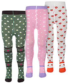 Babyhug Multiprint Footed Tights - Set O f3