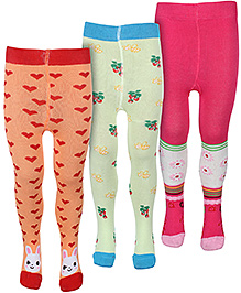 Babyhug Multi Printed Footed Tights - Set Of Three
