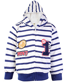 Carters Full Sleeves Hooded Jacket - Stripes Print - Size 1