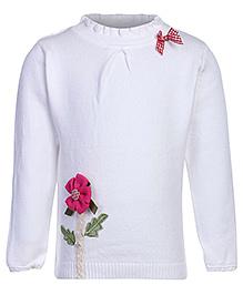 Babyhug Full Sleeves High Neck Sweater - Flower Applique
