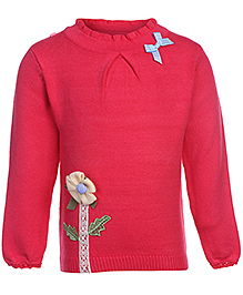 Babyhug Full Sleeves High Neck Sweater - Flower Applique