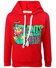 Babyhug Full Sleeves Hooded Sweatshirt - Red