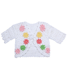 Babyhug Half Sleeves Shrug With Floral Design