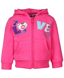 Babyhug Full Sleeves Hooded Zipper Sweatshirt - Patch Work