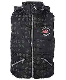 Babyhug Sleeveless Hooded Jacket Black - High Neck