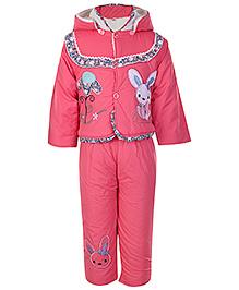 Babyhug Full Sleeves Hooded Jacket And Legging - Rabbit Patch - Medium