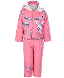 Babyhug Full Sleeves Hooded Jacket And Legging - Rabbit Patch - Small