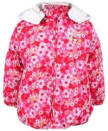 Babyhug Full Sleeves Hooded Jacket - Flower Print