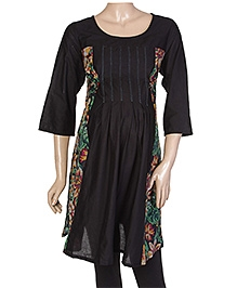 W Quarter Sleeves Tunic Kurta - Floral Print At The Sides