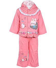 Babyhug Full Sleeves Hooded Jacket and Legging - Rabbit And Fish Embroidery