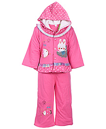 Babyhug Full Sleeves Hooded Jacket and Legging - Rabbit And Fish Embroidery - Small