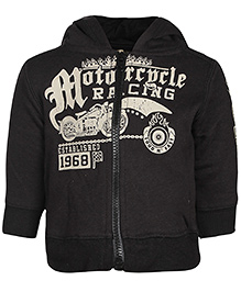 Babyhug Full Sleeves Hooded Jacket - Black