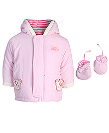 Babyhug Full Sleeves Hooded Jacket With Mittens 3 - 6 Months, Soft and cozy set of jacket and mittens for your little one