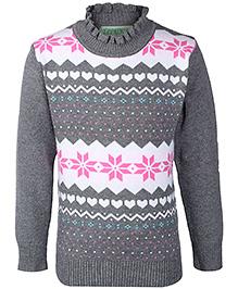 Babyhug Full Sleeves Sweater - Frilled Neckline