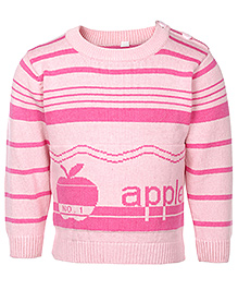 Babyhug Full Sleeves Sweater With Shoulder Buttons - Apple Design