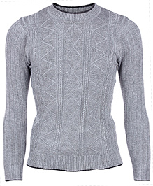 Babyhug Full Sleeves Sweater - Rib and Cable Stitch