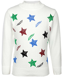 Babyhug Full Sleeves Sweater - Star Print