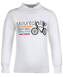 Babyhug Full Sleeves Sweater - Mountain Bike Print