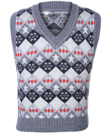 Babyhug V Neck Sleeveless Sweater With Diamond Design