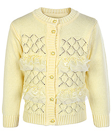Babyhug Full Sleeves Sweater - Lace And Pearl Work