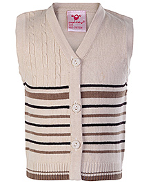 Babyhug Sleeveless Front Open Sweater - Cable Stitch