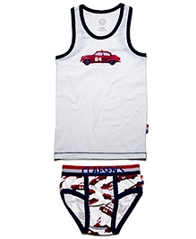 Claesens Pack Of Sleeveless Vest And Brief - Car Print