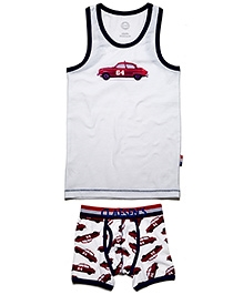 Claesens White Sleeveless Vest And Brief Set - Red Car Print