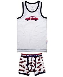 Claesens White Sleeveless Vest And Brief Set - Red Car Print