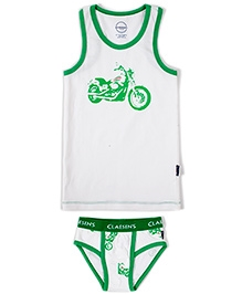Claesens Sleeveless Vest And Brief Set - Bike Print