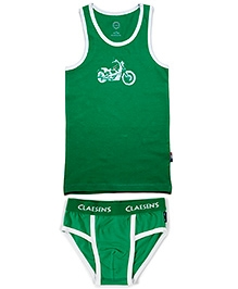 Claesens Sleeveless Vest And Brief Set - Bike Print