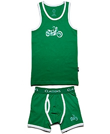 Claesens Sleeveless Vest And Brief Set - Green
