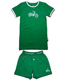 Claesens Half Sleeves Vest And Brief Set - Bike Print