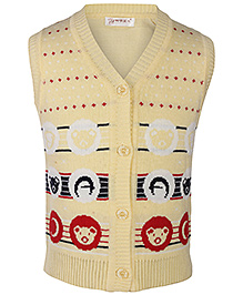 Babyhug Sleeveless Cardigan - Bear Pattern