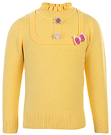 Babyhug Full Sleeves Sweater - Bow Applique
