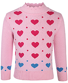 Babyhug Full Sleeves Front Open Sweater - Hearts and Dots Pattern