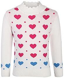 Babyhug Full Sleeves Sweater - Hearts and Dots Pattern